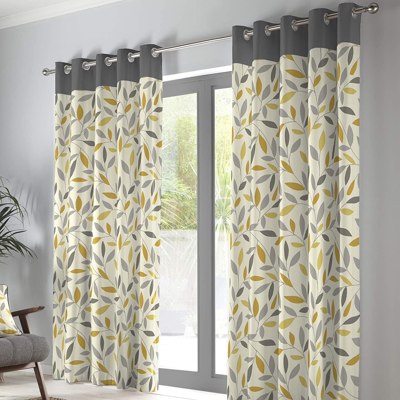 "Fusion Beechwood-100 Pair of Eyelet Curtains, Cotton, Ochre, 66"" Width x 90"" Drop (168 x 229cm) Ochre 66"" Width x 90"" Drop (168 x 229cm)"
