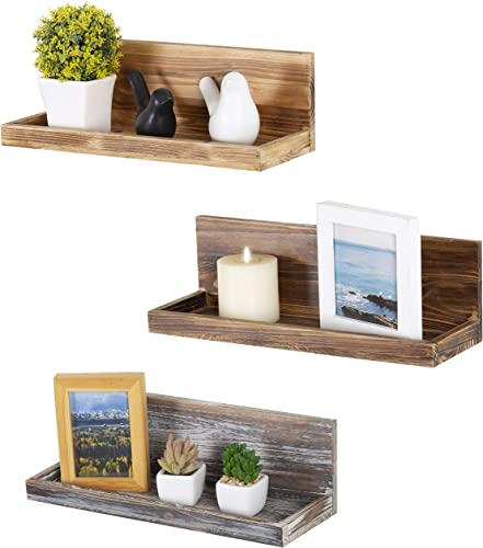 MyGift 16-Inch Mixed-Color Rustic Wood Wall-Mounted Display Floating Shelves, Set of 3