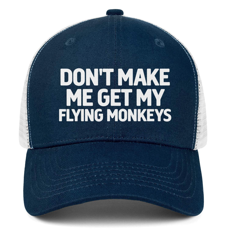 Dont Make Me Get My Flying Monkeys Men Womens Sun Cool Cap Adjustable Snapback Hip Hop Hat