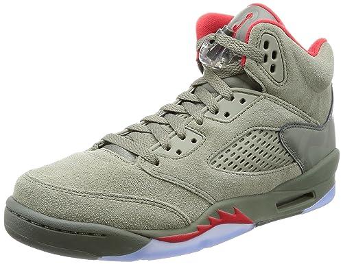 new product 53e21 fd783 Nike Men s AIR Jordan 5 Retro BG -GS Dark Stucco University Red Mesh Shoes