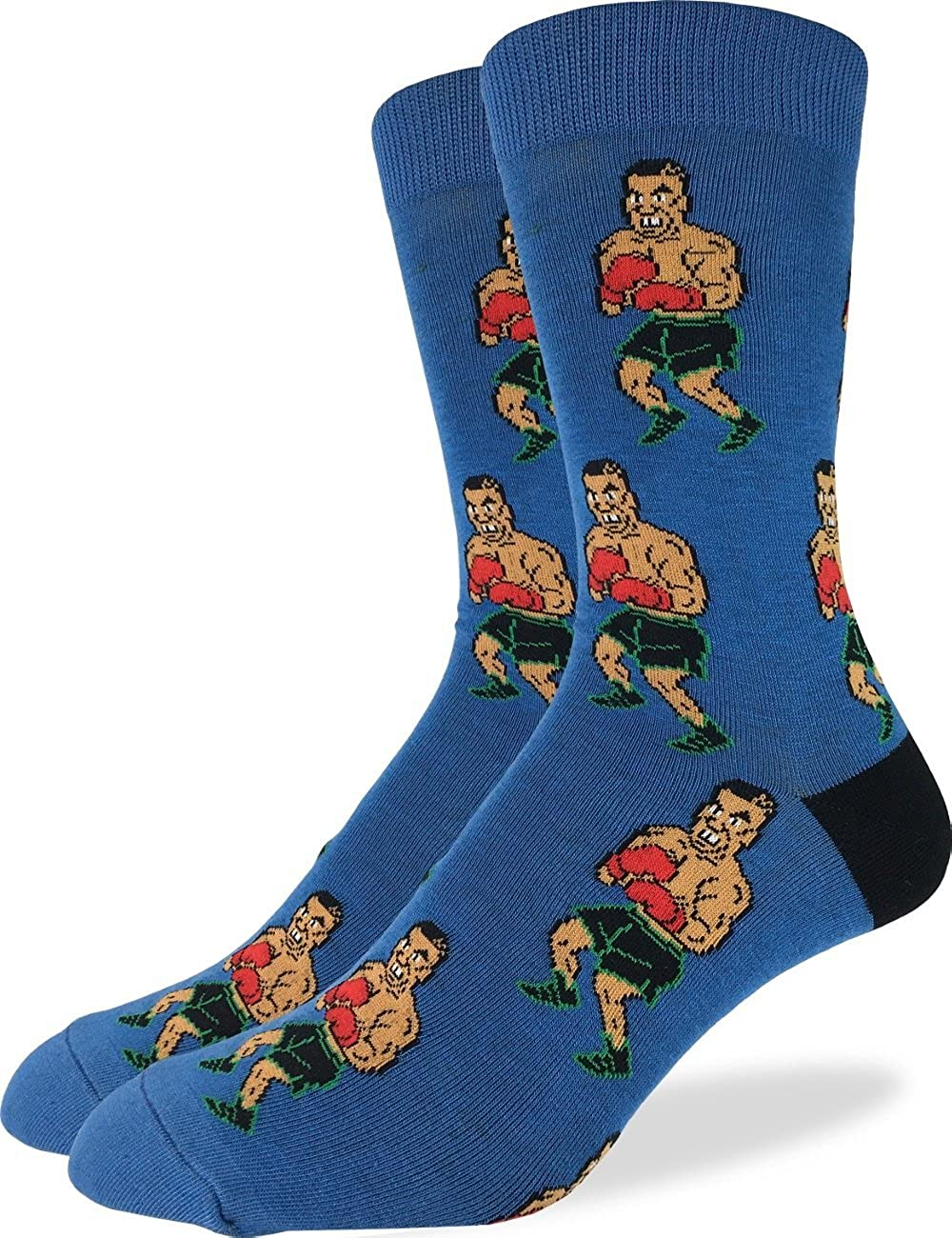 Good Luck Sock Men's Tyson Punch-Out!! Crew Socks - Blue, Shoe Size 7-12