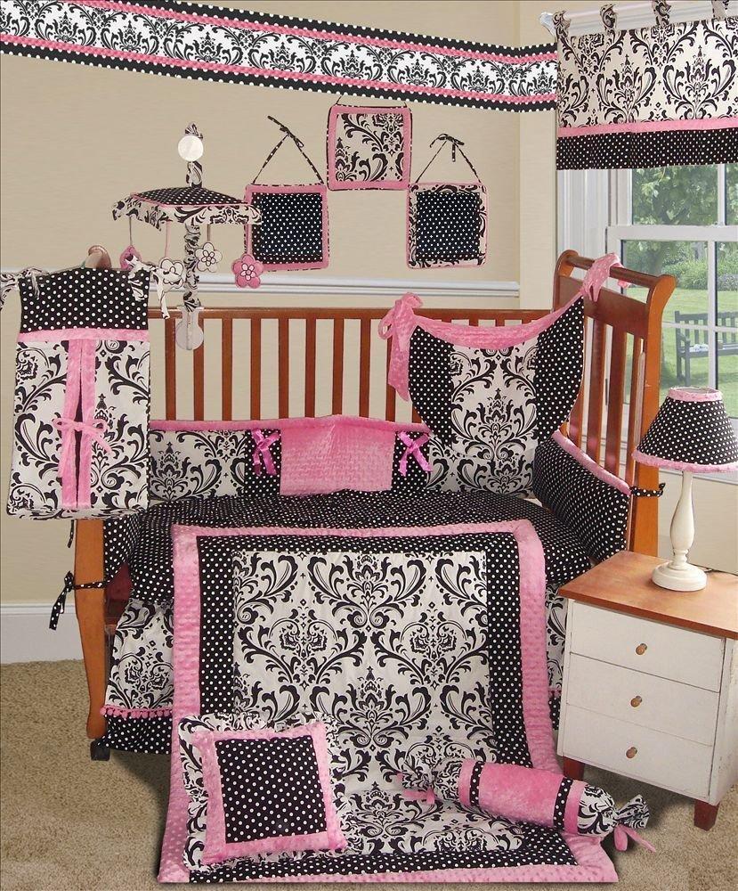 SISI Baby Bedding - Rose Damask 13 PCS Crib Bedding
