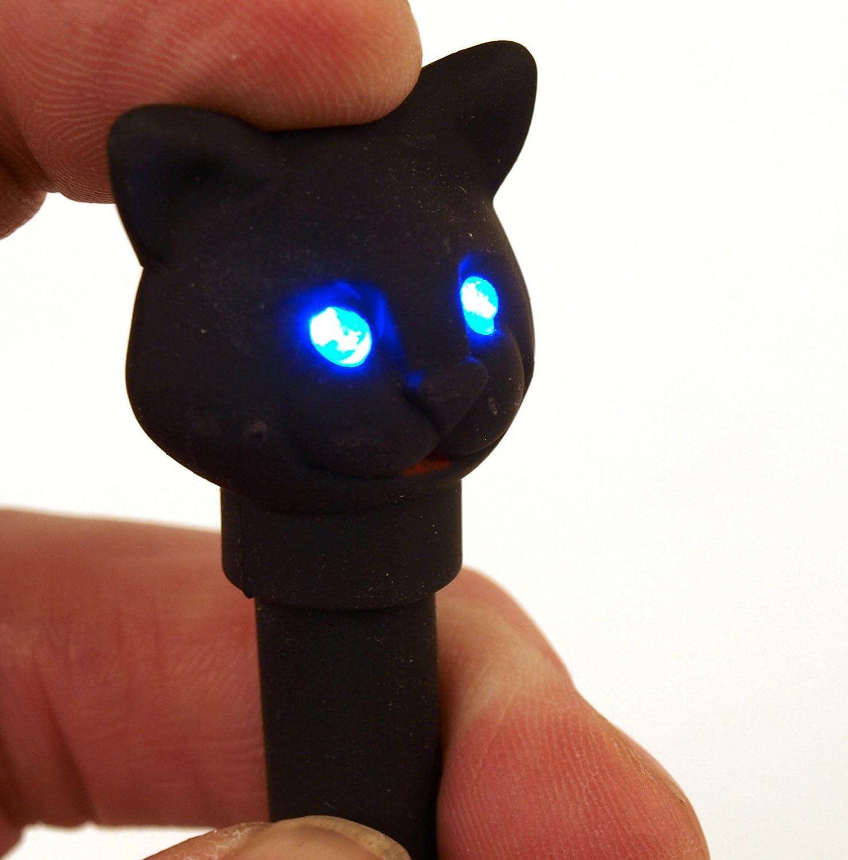 Kugelschreiber BLACK CAT mit LED Licht und Sound Kikkerland 1503