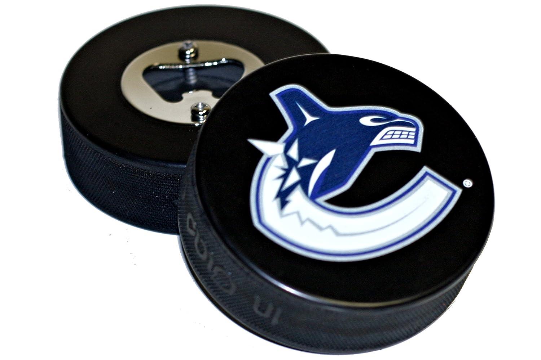 Vancouver Canucks Basic Logo NHL Hockey Puck Bottle Opener EBINGERS PLACE