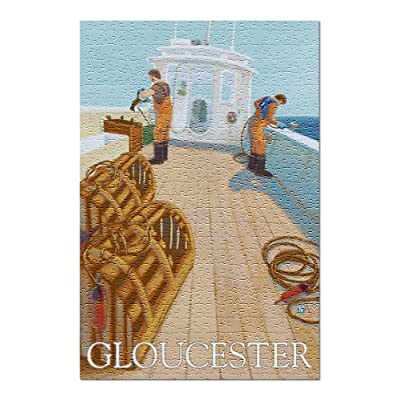 Gloucester, MA - Lobster Fishing (Premium 500 Piece Jigsaw Puzzle for Adults, 13x19, Made in USA!): Toys & Games