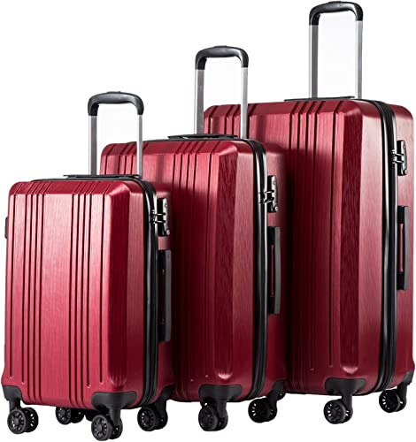 Coolife Luggage Expandable Suitcase PC ABS 3 Piece Set with TSA Lock Spinner 20in24in28in