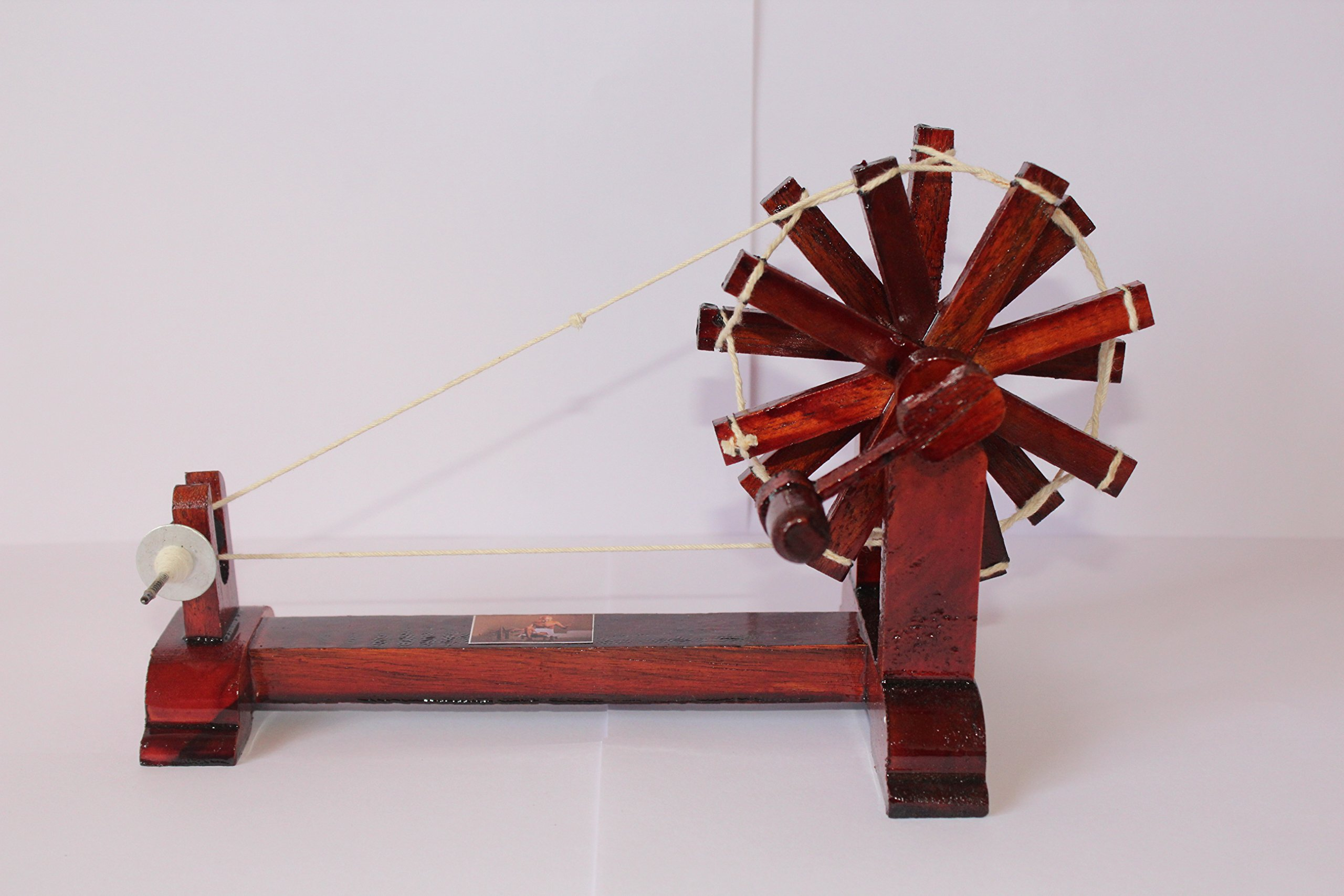 Wooden Charkha Gandhi Charkha Spinning Wheel Home Decore Brown Colour