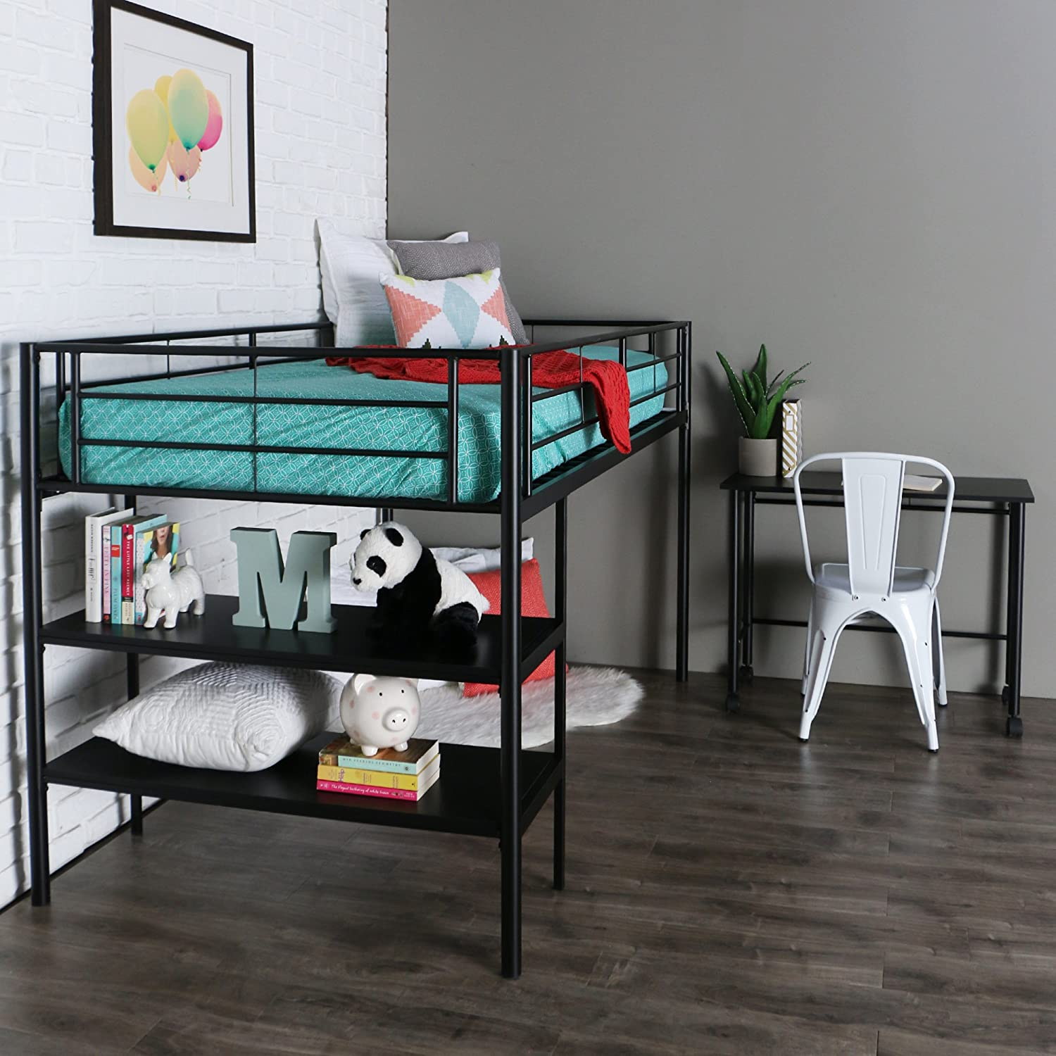 Amazon.com: WE Furniture Twin Low Loft Metal Bed, Black: Kitchen U0026 Dining