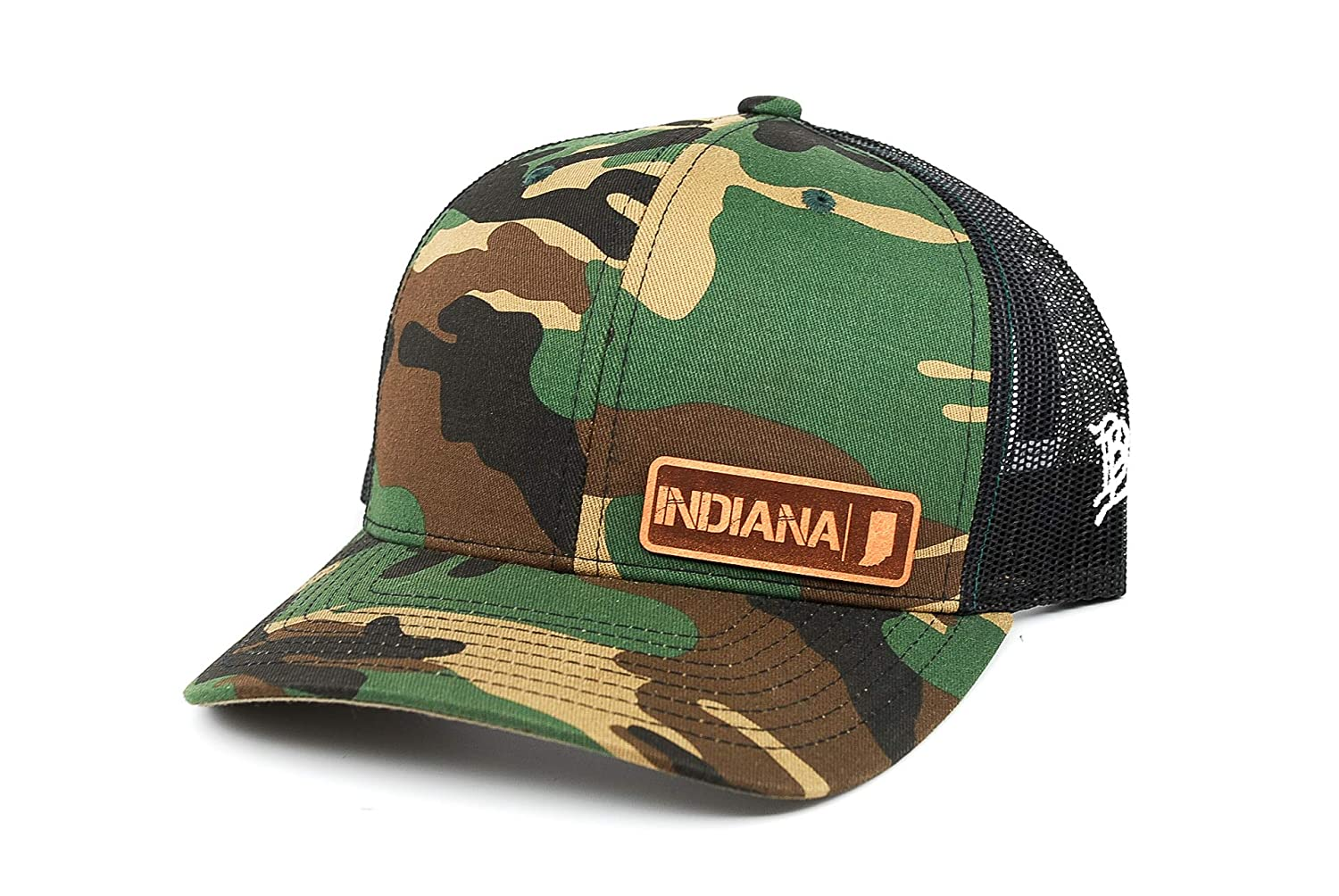 OSFA//Camo Branded Bills /'Indiana Native Leather Patch Hat Curved Trucker