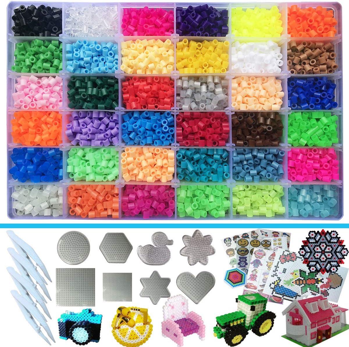 5mm Cuentas y Abalorios Plásticos,11100 piezas de 36 colores (6 brillan en la oscuridad) 8 plantillas para cuencas de Planchar+4 hojas térmicas+4 pinzas ideal para Regalo para Niños DIY Perlas beads