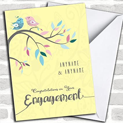 Amazon yellow birds engagement personalized greetings card yellow birds engagement personalized greetings card m4hsunfo