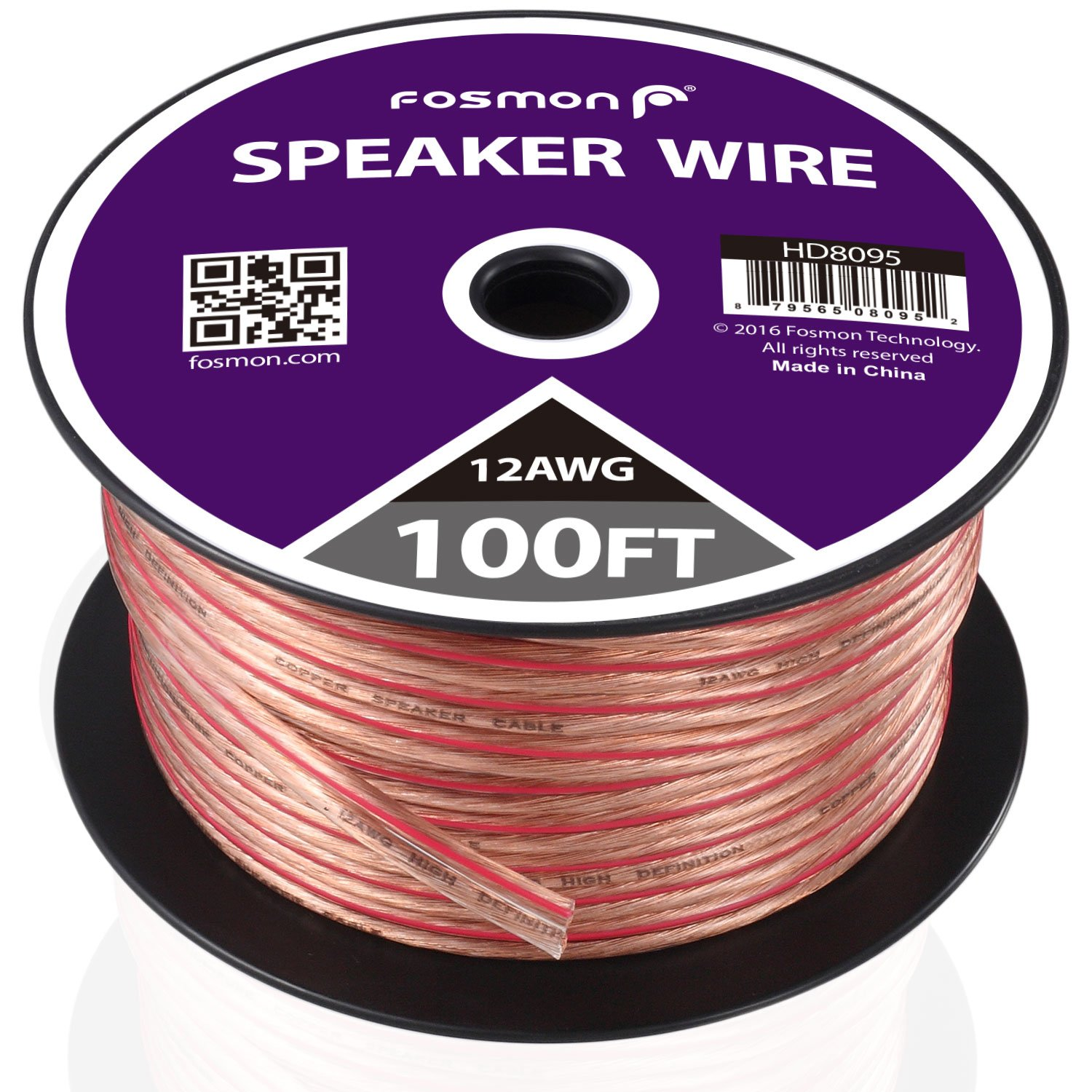 Fosmon Speaker Wire, 14AWG Spooled CCA (Copper Clad Aluminum) Speaker Wire with Red Polarity Mark (50ft / 15m) HD8096