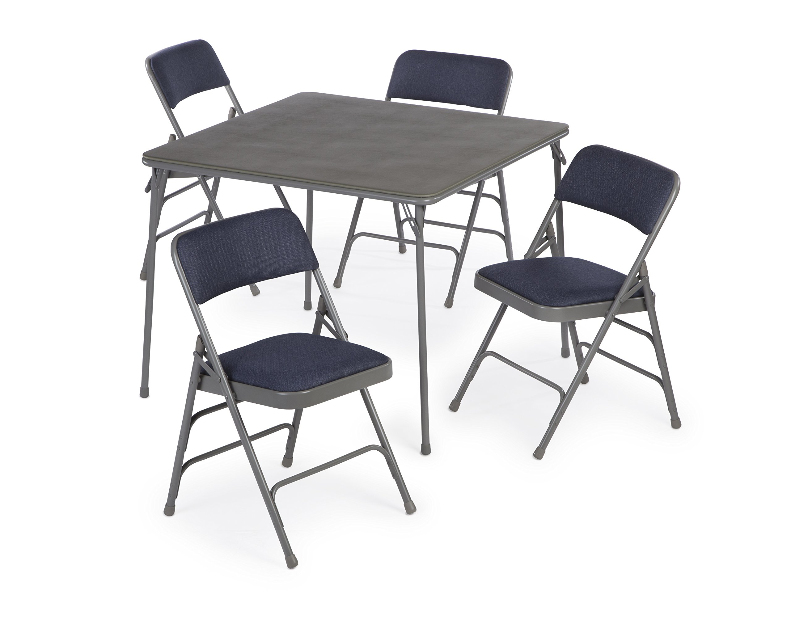 5pc. XL Series Folding Card Table and Triple Braced Fabric Padded Chair Set, Commercial Quality (Blue)