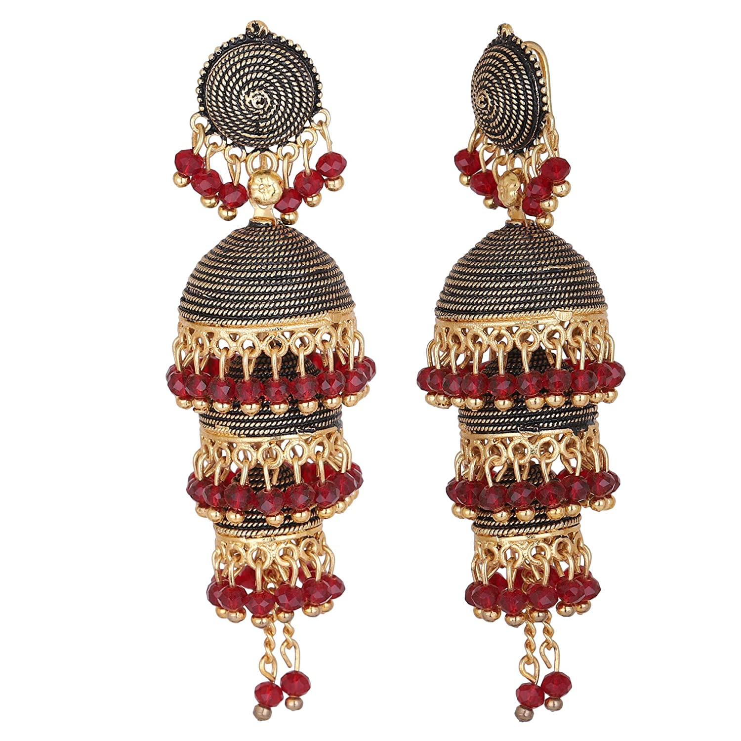 Bijouterie Creation Indian Bollywood Traditional Ethnic Red Pearls Antique Tone Jhumka Jhumki Earrings for Women and Girls
