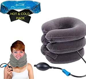 BodyMoves 2019 Cervical Neck Traction with hot and Cold Gel Pack # Home Relaxation Inflatable air Therapy for Shoulder and Neck Pain(Grey)