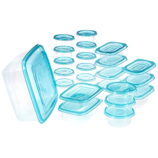 Amazon Brand - Solimo Storage Container Set, 8.8 Litre, Set of 23, Blue