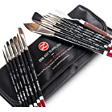 ZenART Professional Watercolor Brush Set – 14 x Birch Wood Squirrel and Synthetic Paint Brushes incl Palette Knife…