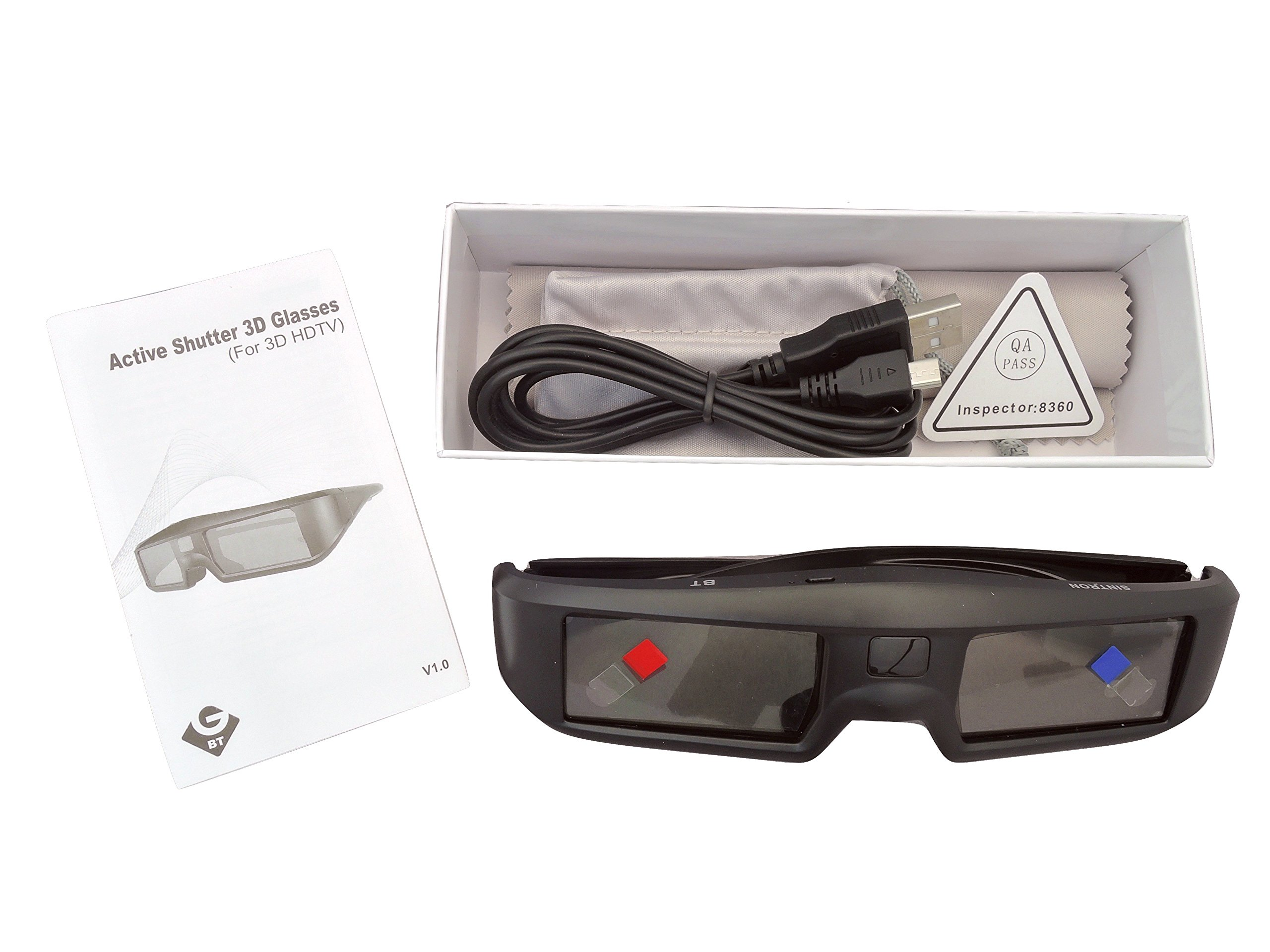 2X 3D Active Shutter Glasses Rechargeable - Sintron ST07-BT for RF 3D TV, 3D Glasses for Sony, Panasonic, Samsung 3D TV, Epson 3D projector, Compatible with TDG-BT500A TDG-BT400A TY-ER3D5MA TY-ER3D4MA by Sintron (Image #8)
