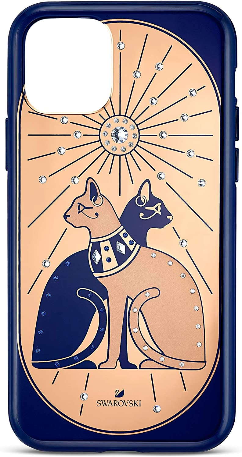 SWAROVSKI Theatrical Collection Phone Case for iPhone 11 Pro, with Integrated Bumper, Blue and Gold Egyptian Temple Cats Pattern, an Amazon Exclusive (5558999)