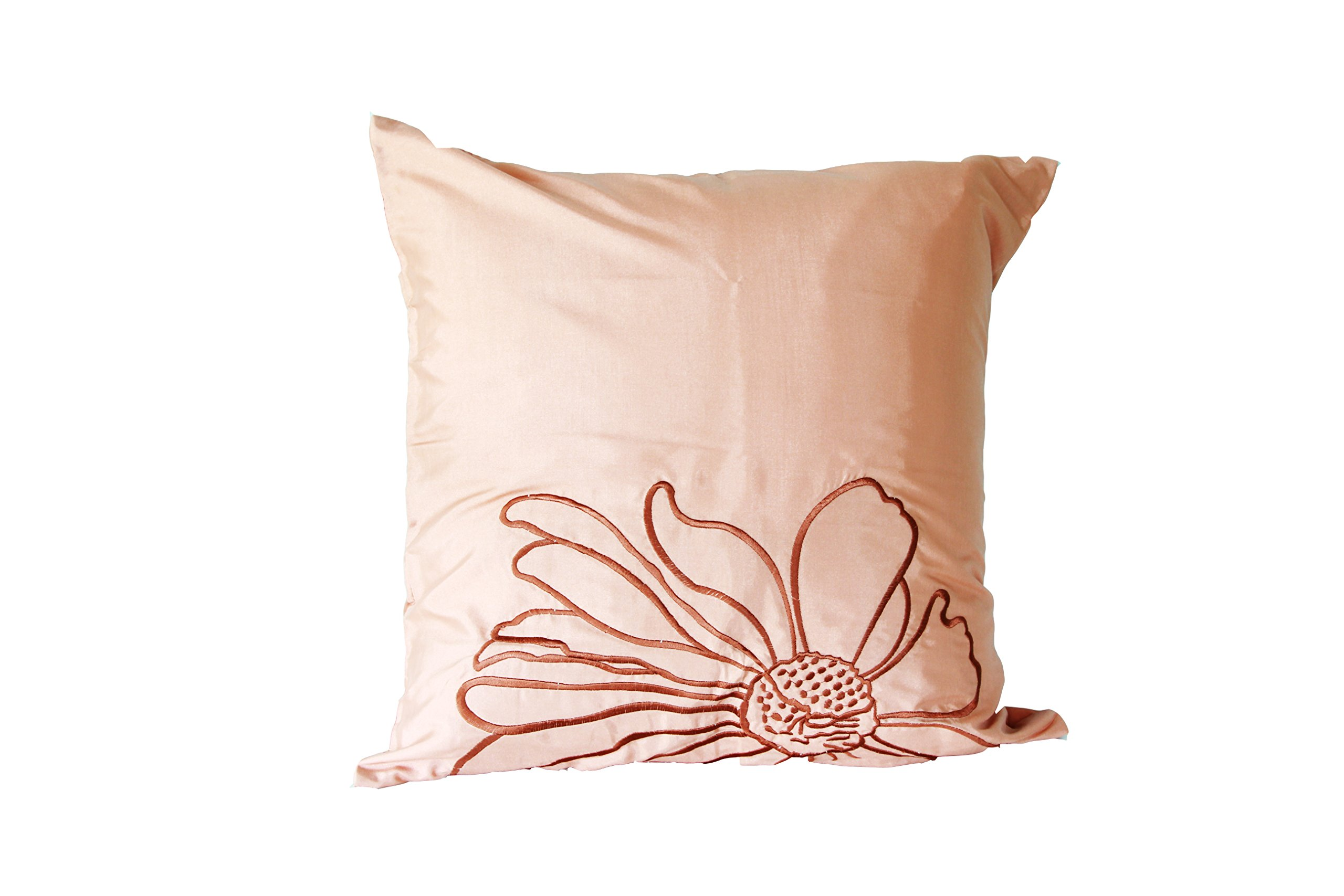 Lotus House Brown Silk Pillowcase - Floral Collection (1, Brown Floral)