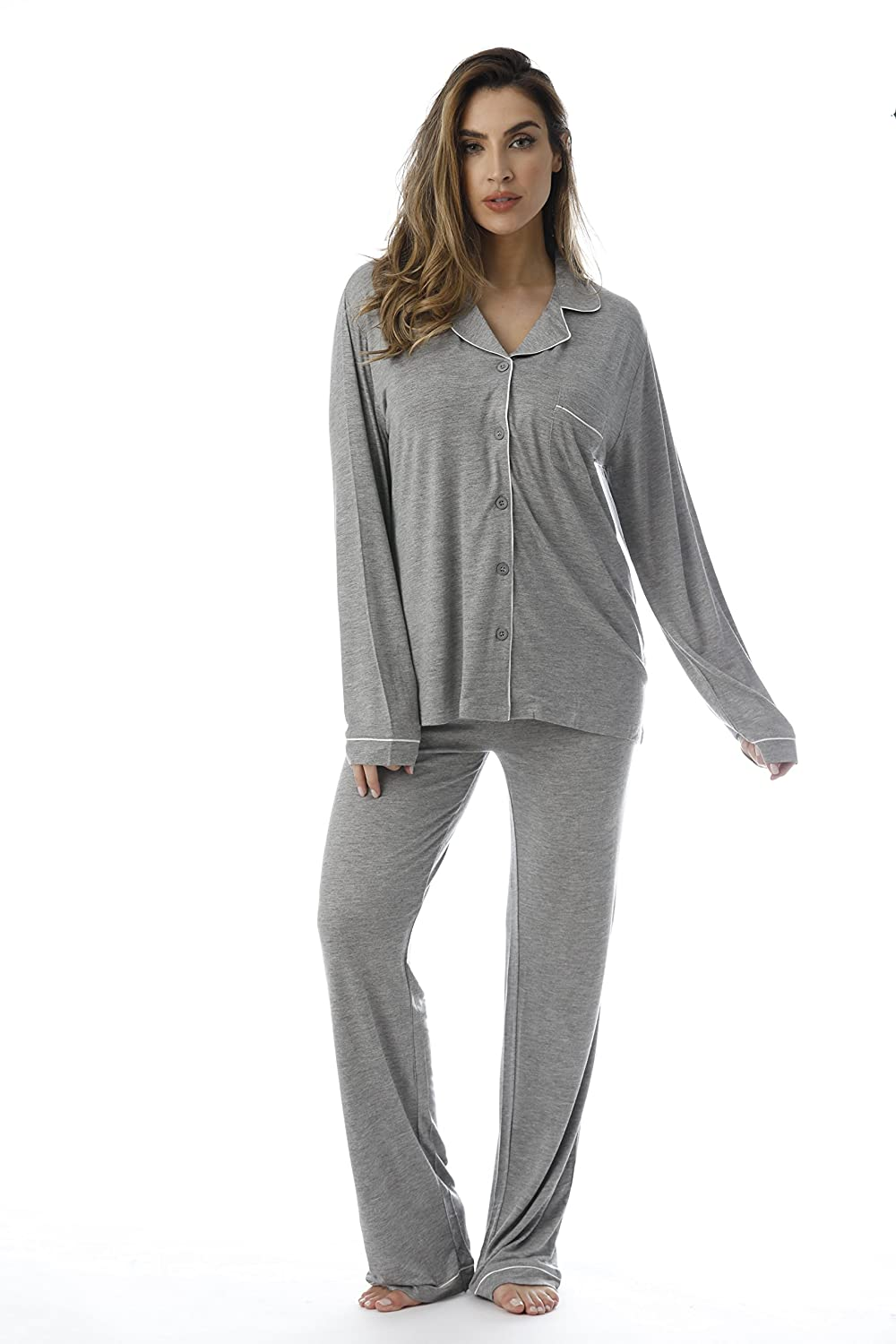afd0229397  followme Button Down Pajama Pant Set with Notch Collar at Amazon Women s  Clothing store