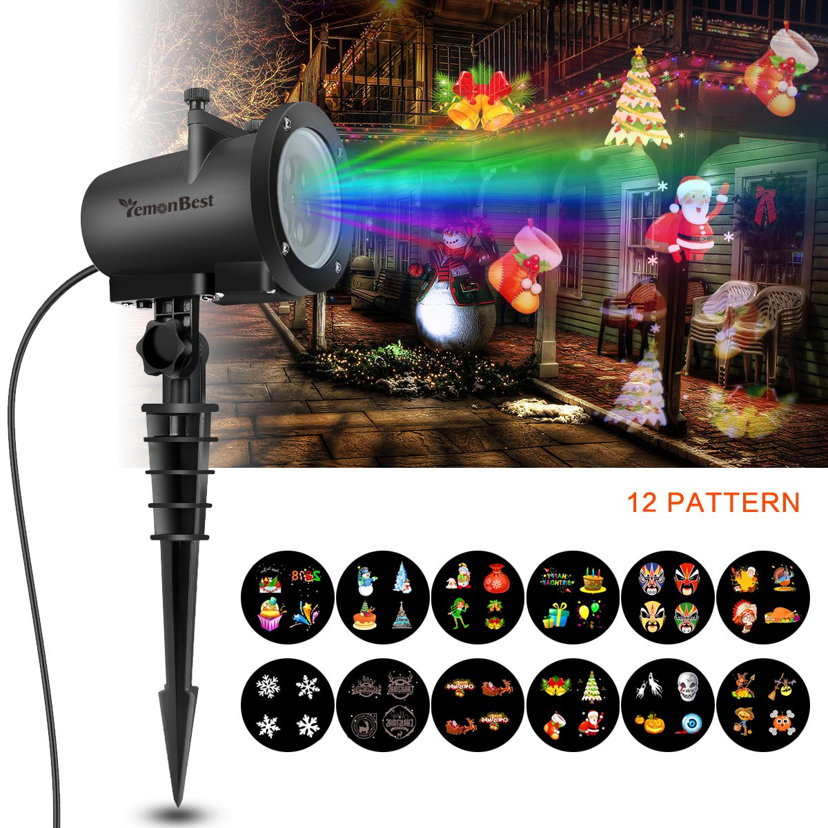Clearance LED Party Lights, Konesky Newest Version 8W 12 Patterns Waterproof LED Projection Lamp for Party Birthday Wedding Holiday Decoration