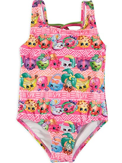 bright in luster amazing price quality Little Girls' Shopkins Swim Suit (Allover SPK, 6X)