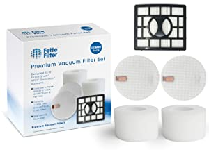 Fette Filter – Vacuum Filters Compatible with Shark APEX AX912 QU922Q DuoClean Powered Lift-Away Speed Vacuums. Compare to Part # XPRHF910 & XFF680. HEPA and Foam & Felt Filters.