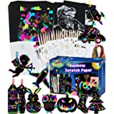 Smarkids Scratch Paper Art Set for Kids- 143 Pcs Magic Rainbow Silver Scratch Off Paper Crafts Arts Supplies Kits Sheets Card