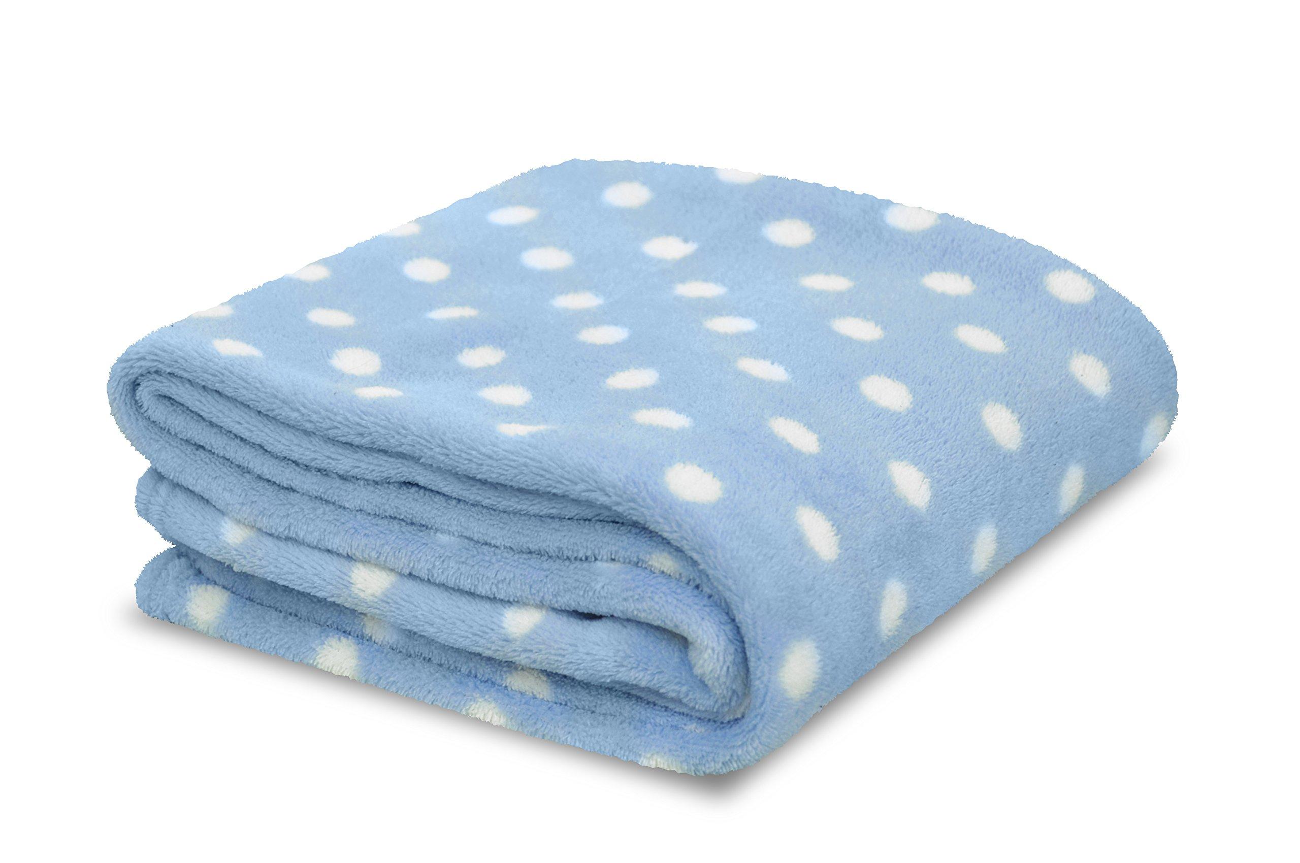 Little Starter Plush Toddler Blanket, Blue Dot