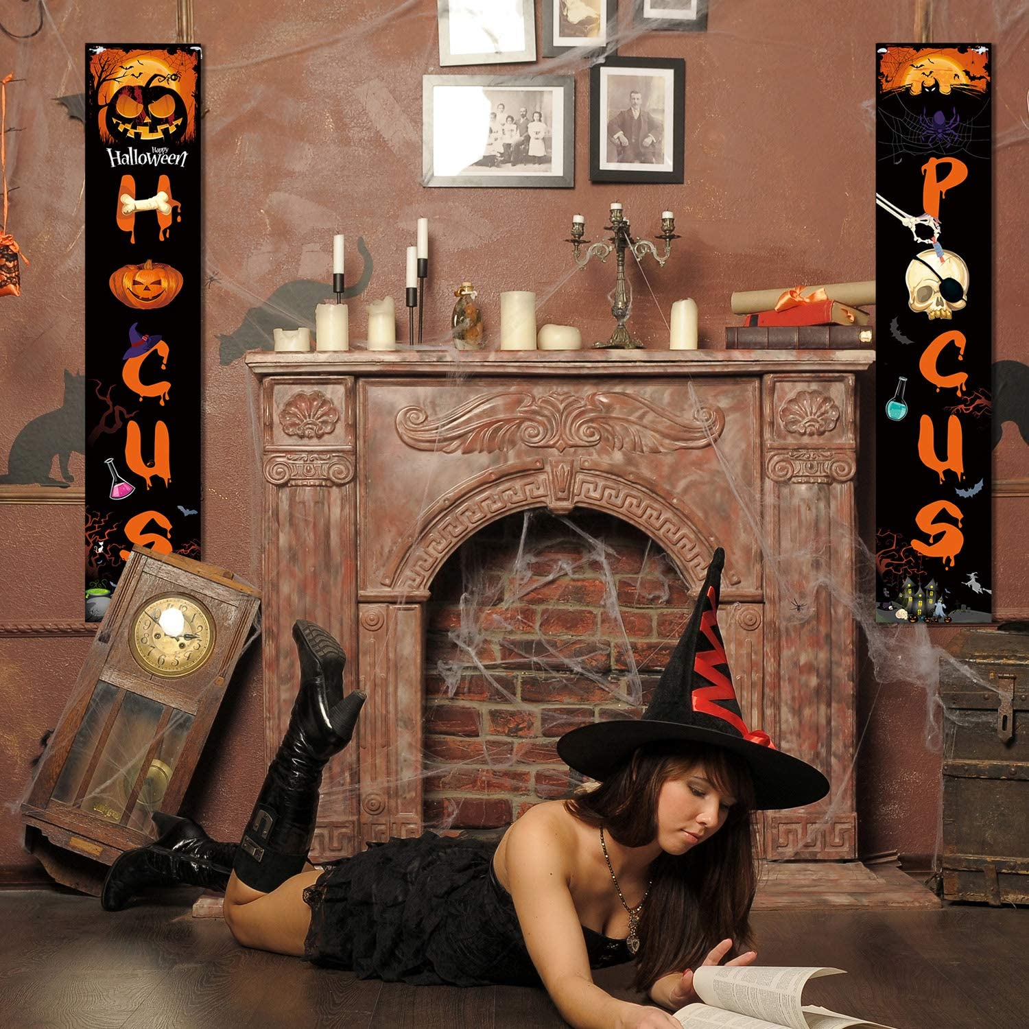 Blulu Halloween Decorations Hocus Pocus Porch Sign Witch Decor Banners for Halloween Party Yard Wall Office Living Room Classroom