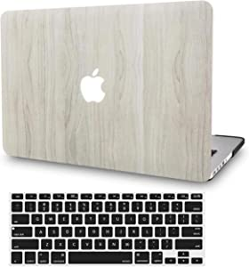 """KECC Laptop Case for MacBook Pro 15"""" (2019/2018/2017/2016) w/Keyboard Cover Plastic Hard Shell A1990/A1707 Touch Bar 2 in 1 Bundle (Pine Wood 2)"""