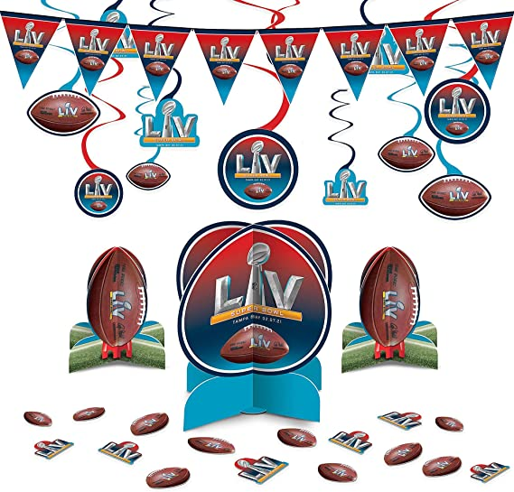 Party City Football Decor Kit, Party Supplies, Includes Hanging Swirls, Pennant Banner