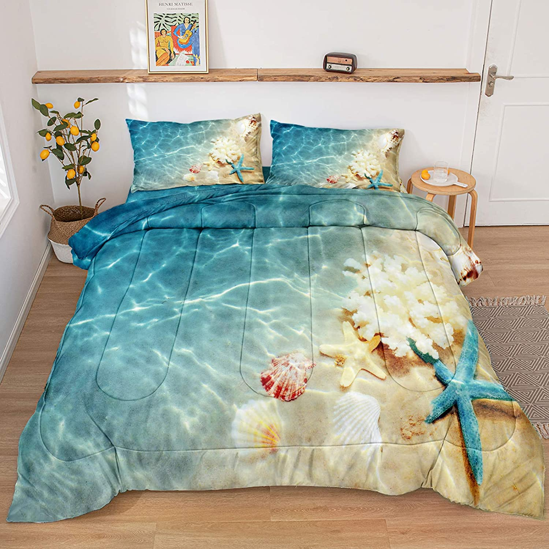 Ocean Comforter Set Blue Beach Comforter Coastal Nature Theme Pattern Soft Microfiber Filling Bedding Sets King 1 Comforter 2 Pillowcases (Ocean, King)