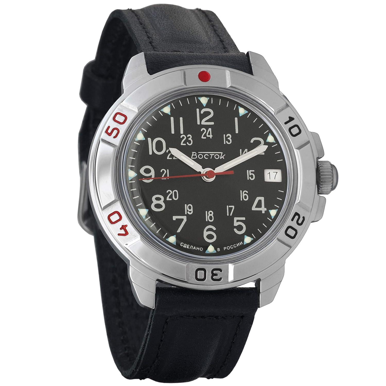 Amazon.com: Vostok Komandirskie 24 Hour Dial Mechanical Mens Military Wrist Watch #431783 (orange): Watches