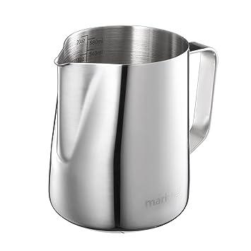 Mari Chef – 600 ml acero inoxidable jarra de leche para hacer espuma de leche, taza de medir con marcas de interior