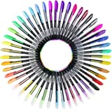 Ciaoed Glitter Gel Pens 48 for Kids Girls Boys and Adult,Glitter Neon Paste and Metallic,Fine Tip Colouring Drawing and Writing Pens,Kawaii Stationery Set for School,Ideal Christmas Birthday Present.