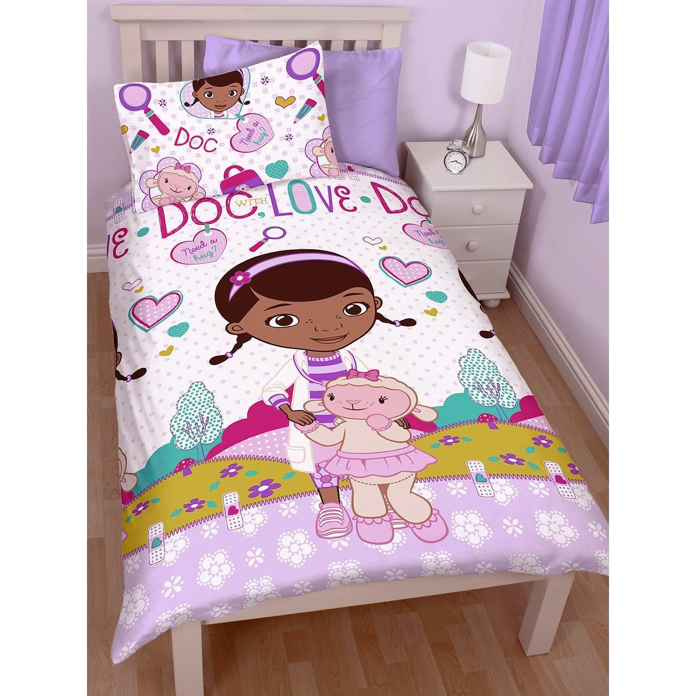 Disney Doc Mcstuffins /'Patch/' Reversible Rotary Double Bed Duvet Quilt Cover Set