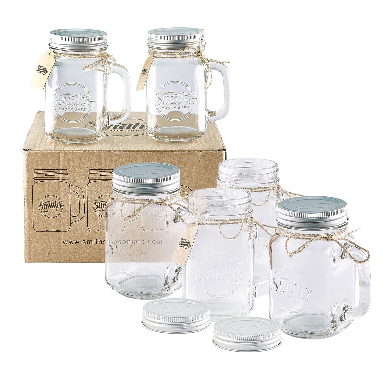 Smiths Mason Jars 6 x 16oz Mason Jar Mugs with Lids, Great Mason Jar Old Fashioned Glasses Smith's Mason Jars B01JZA8GVA