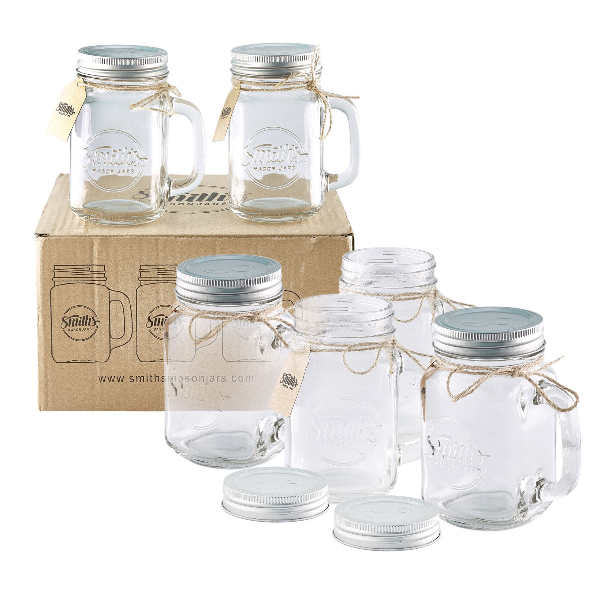Smith\'s Mason Jars 6 x 16oz Mason Jar Mugs with Lids 646437475556 | eBay