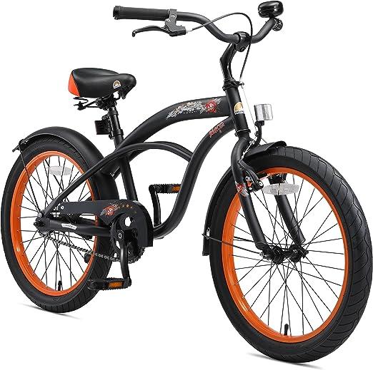 BIKESTAR Bicicleta para niños con sidestand y Accesorios para niños de 6 años | 20 Pulgadas Cruiser Edition | Negro (Mate): Amazon.es: Juguetes y juegos