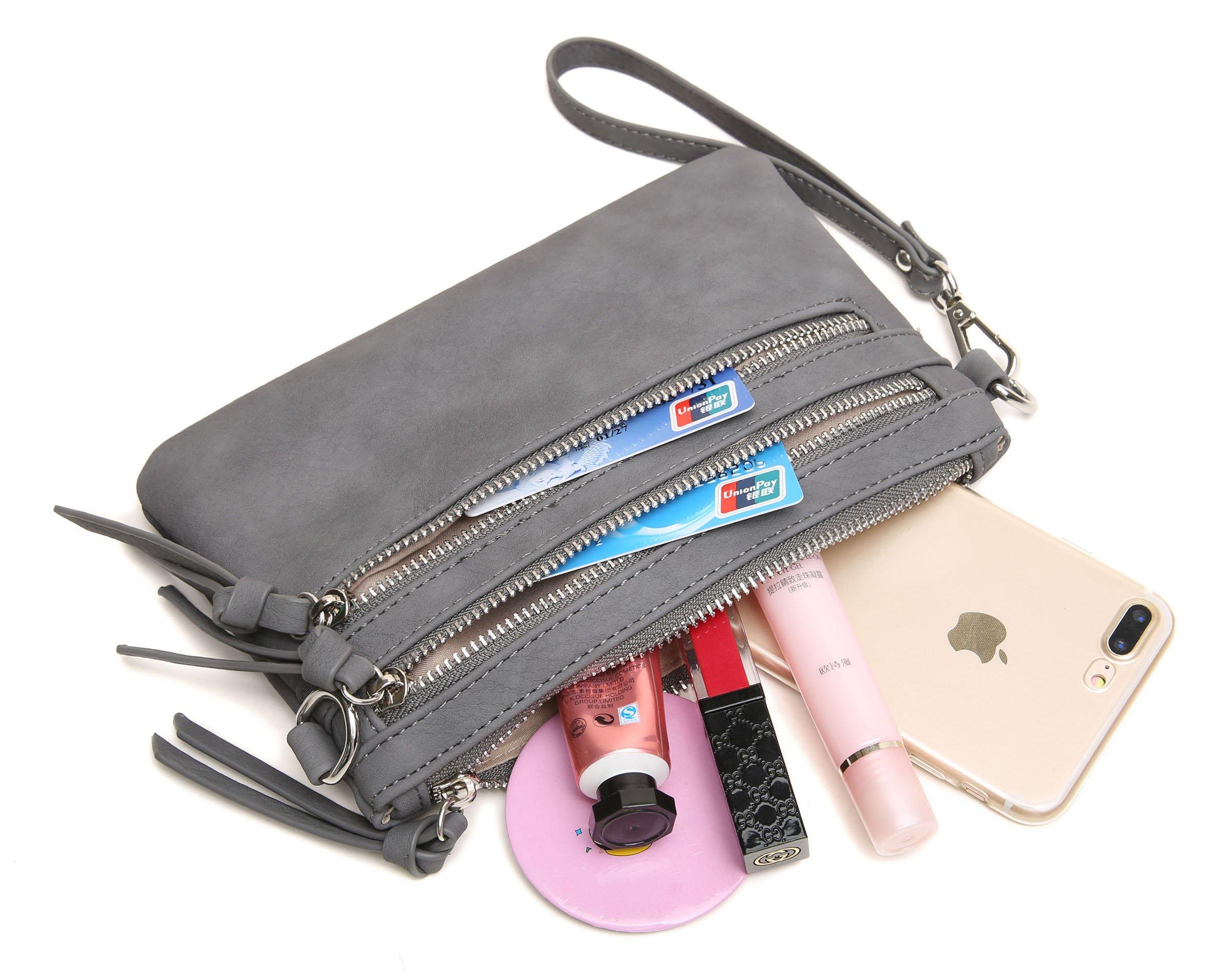 Aitbags Multi-Zipper Pocket Crossbody Handbag Lightweight Purse Functional Clutch with Wristlet by Aitbags (Image #5)