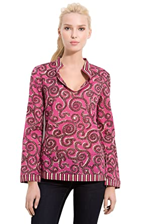 ee4f50d81f5 Image Unavailable. Image not available for. Color: Tory Burch Pink Stephanie  Mandarin Collar Print Tunic ...