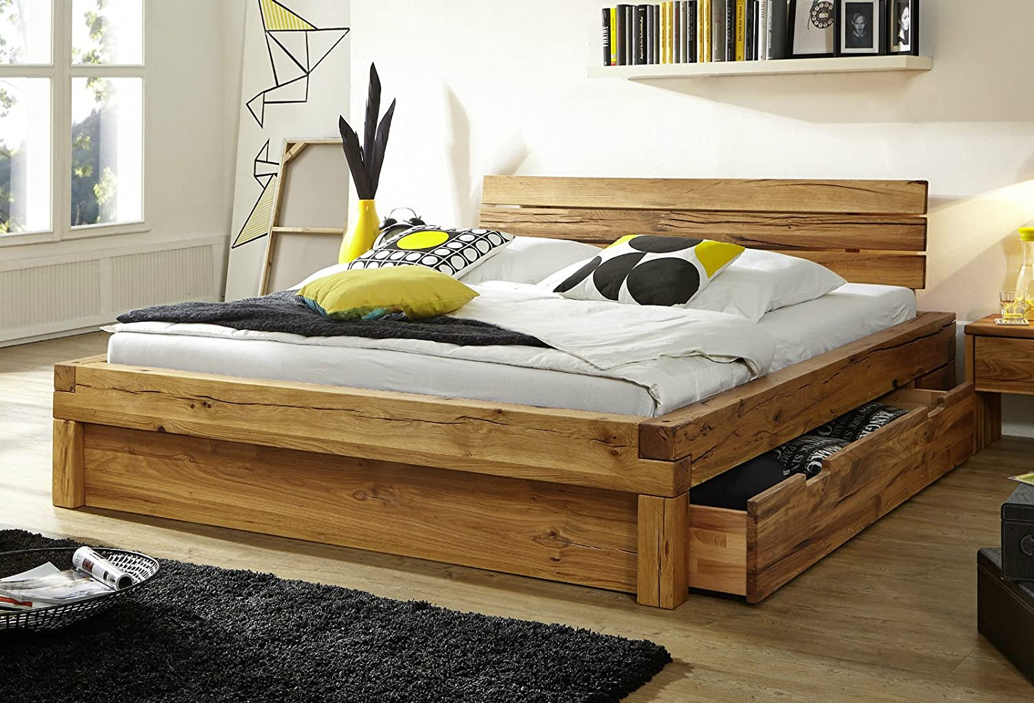 bett mit schubk sten balkenbett doppelbett 39 jonas 39 200x200cm kernbuche ge lt massiv holz g nstig. Black Bedroom Furniture Sets. Home Design Ideas
