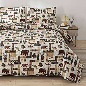 Rustic Quilt Set Bedding King Size Lodge Cabin Quilt Lightweight Summer Bedspreads Country Bedding Sets Forest Moose Bear Fish Pine Print Coverlet Daybed Cover Blanket Woodland Home Decor-Brown White