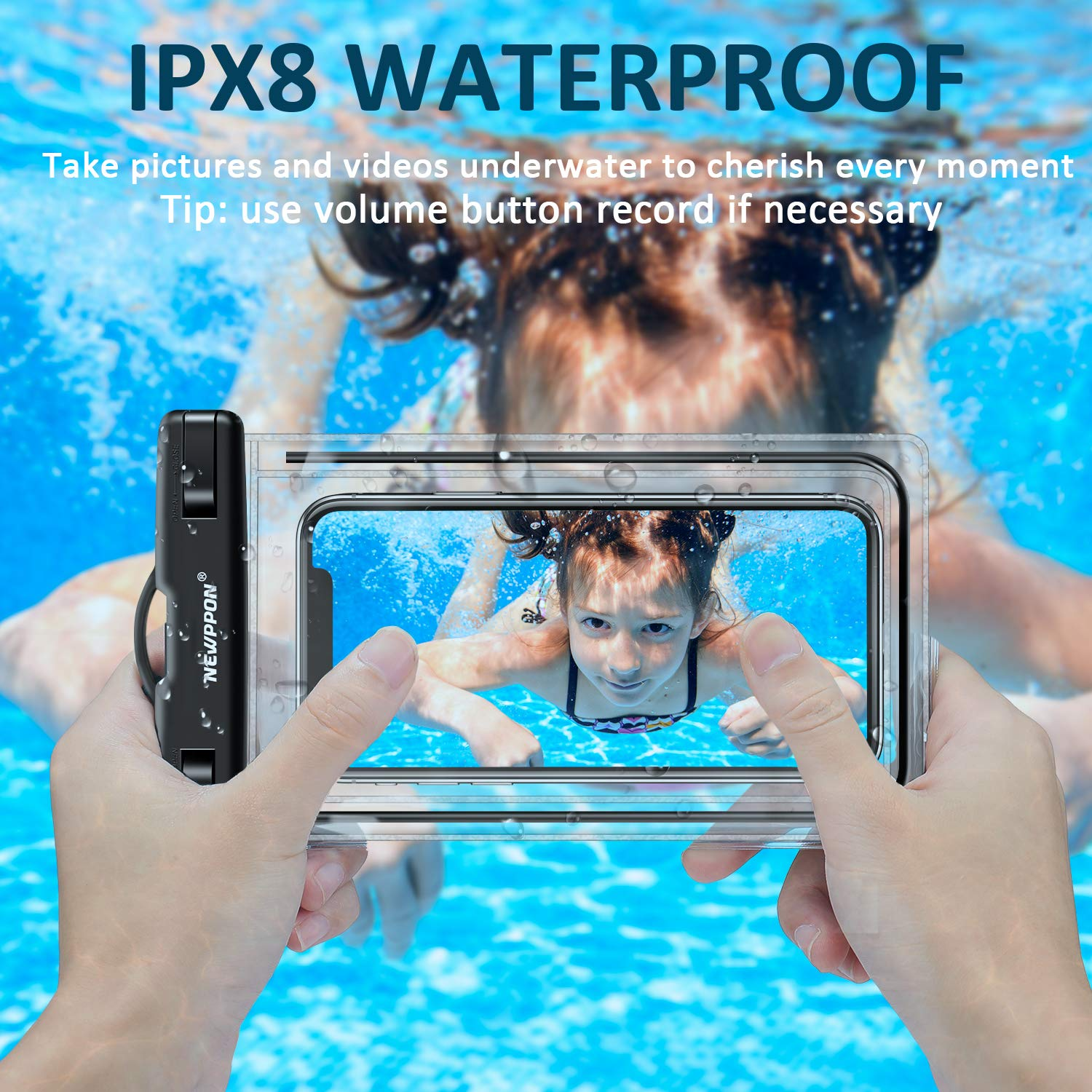 Newppon Waterproof Cell Phone Pouch 2 Pack IPX8 Underwater Wider Dry Bag Universal for iPhone Xs Max XR X 8 7 Plus SE Samsung Galaxy Note Pixel with Thin Case for Beach Snowproof Dustproof