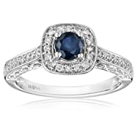 14k White Gold Sapphire and Diamond (0.25 cttw, H-I Color, I2-I3 Clarity) Engagement Ring, Size 7