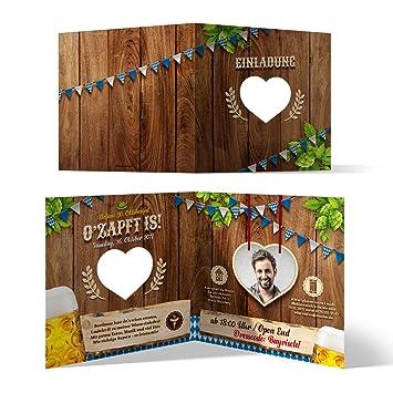 Lasergeschnittene Einladungskarten (30 Stück) Oktoberfest Geburtstag Bayern    Ou0027zapft Is! Blau