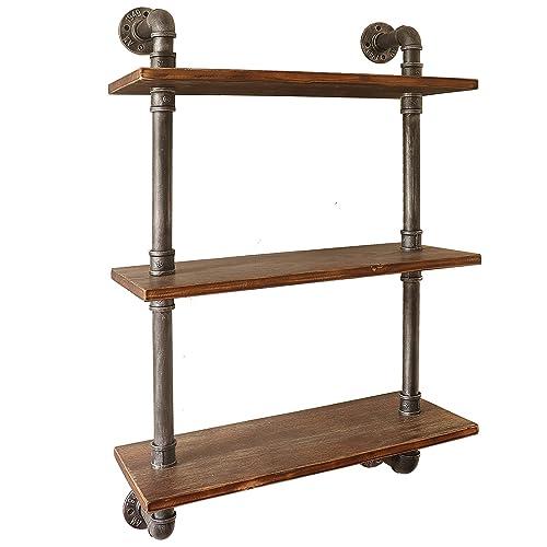 Barnyard Designs 3-Tier Floating Wall Mount Bookshelf – Solid Pine Wood Shelves – Rustic Vintage Industrial Style Decorative Bookshelves 38 x 23.5