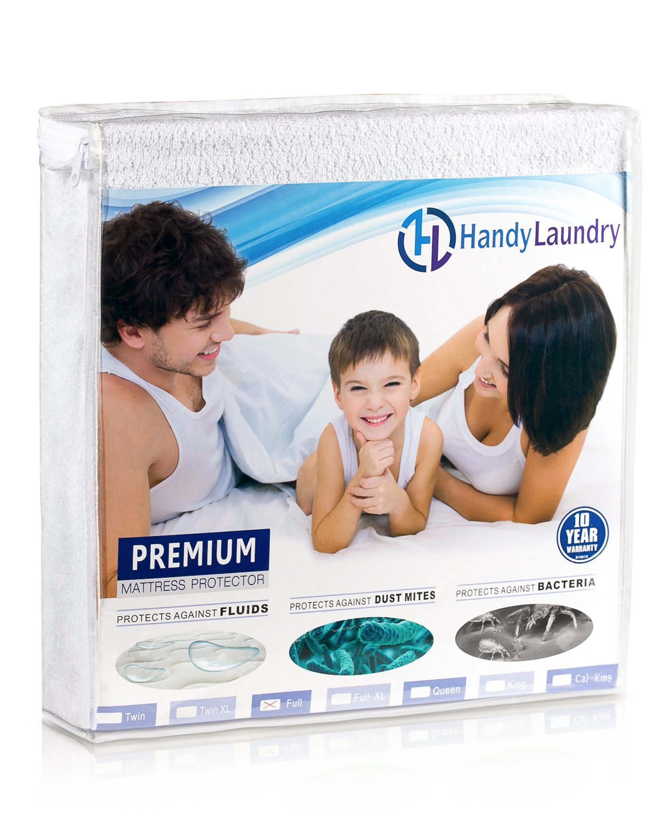 Twin Mattress Protector, Waterproof, Breathable, Blocks Dust Mites, Allergens, Smooth Soft Cotton Terry Cover. The Premium Mattress Protector will surely increase the life of your mattress. by Handy Laundry